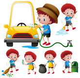 Boy doing different types of chores Stock Photo