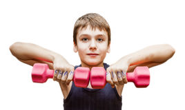 Boy doing exercises with dumbbells Royalty Free Stock Photography
