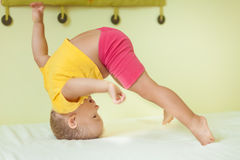 Boy doing exercises Stock Image