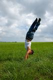 Boy doing handstand Stock Image