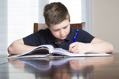 Boy doing his homework at home. A boy doing his homework at home Stock Photos