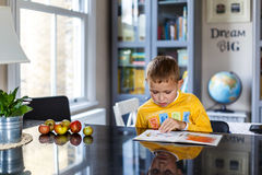 Boy doing his homework. At home Royalty Free Stock Photo