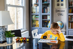 Boy doing his homework. At home Stock Images