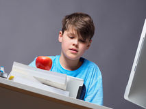 Boy doing his homework. Young boy doing his homework with a computer Royalty Free Stock Photography