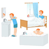 Boy doing his morning routine vector illustration. Cut young boy doing his morning routine. Vector illustration isolated on white background Royalty Free Stock Photo