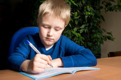 Boy doing his school homework Stock Photography