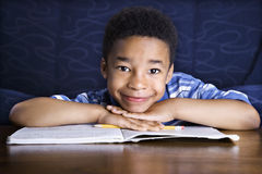 Boy Doing Homework Stock Image