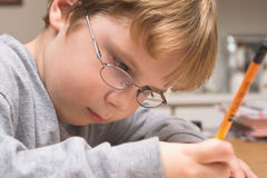 Boy Doing Homework. A young boy studying, doing his homework Stock Photography