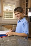 Boy doing homework Stock Photography