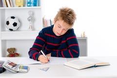 Boy is doing homework Royalty Free Stock Photo