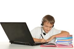 Boy is doing homework Stock Image