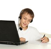 Boy is doing homework Royalty Free Stock Photo