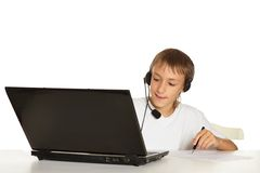 Boy is doing homework Royalty Free Stock Photography