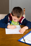 Boy doing homework. In a living room Royalty Free Stock Photo