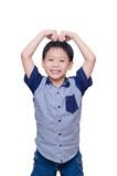 Boy doing love sign Stock Photography