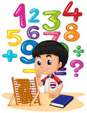 Boy doing math with abacus. Illustration Stock Photography