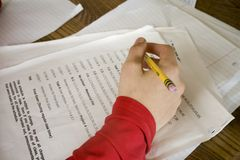 Boy Doing Math Homework Royalty Free Stock Photos