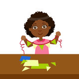 Boy Doing Paper Flag Garland On A String, Elementary School Art Class Vector Illustration Stock Photos