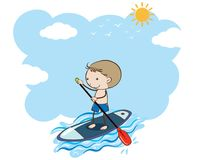 A Boy Doing Stand Up Paddle Board. Illustration stock illustration