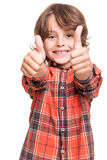 Boy doing thumbs up stock photography