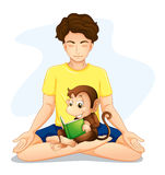 A boy doing yoga with a monkey reading Royalty Free Stock Images
