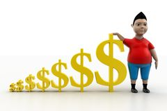 Boy and Dollar Symbols In  Royalty Free Stock Photography