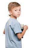 Boy with dollars Royalty Free Stock Photos