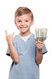 Boy with dollars Royalty Free Stock Photo