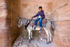 Boy on donkey Royalty Free Stock Photo