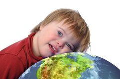 Boy with down syndrome and earth. Isolated on white Stock Photography