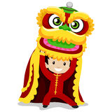 Boy with Dragon Dancing Stock Photography