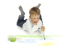Boy draw in home Stock Image