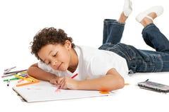 Boy drawing Royalty Free Stock Image