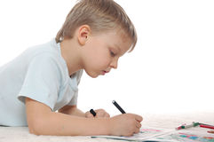 Boy drawing Royalty Free Stock Photos