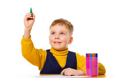 Boy drawing Royalty Free Stock Photography