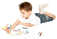 Boy drawing Royalty Free Stock Image