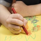 Boy drawing. stock photos