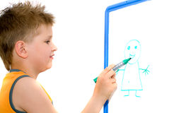 boy drawing Royalty Free Stock Photo