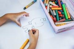 Boy drawing cartoon Royalty Free Stock Photo