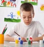 Boy on a drawing class Stock Photography