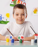 Boy on a drawing class Royalty Free Stock Photo