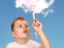 Boy drawing cloud collage Stock Images