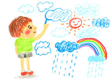 Boy drawing cloud sun and rainbow ` oil pastel illustration. Boy drawing cloud sun and rainbow ,oil pastel illustration Royalty Free Stock Photos