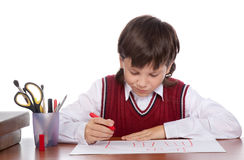 Boy drawing house Royalty Free Stock Photo