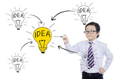 Boy drawing lightbulb with idea word Royalty Free Stock Images