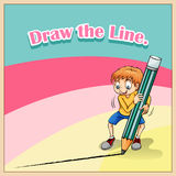 Boy drawing line with big pencil Royalty Free Stock Images