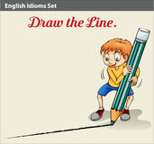 A boy drawing a line Stock Photography