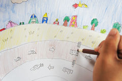 Boy drawing  picture Royalty Free Stock Photography
