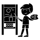 Boy drawing picture  icon, vector illustration, sign on isolated background Royalty Free Stock Image