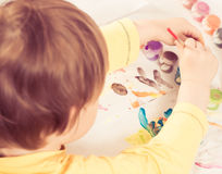 Boy drawing picture Stock Photo